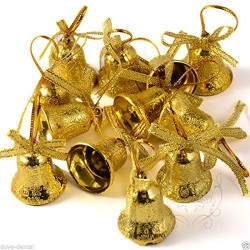 Gold Bell Christmas Tree Hanging Ornament Party Xmas Decoration