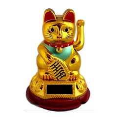 Solar Welcome Cat Feng Shui Showpiece Home Decor Statue | Car Dashboard