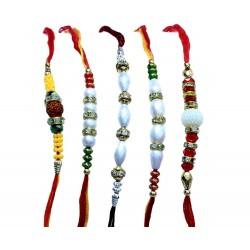 Rakhi By Lilone Multicolor Mauli Fabric Set Of 5 Rakhis With Roli Chawal