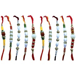 Lilone Set Of 10 Rakhi With Roli Chawal For Men