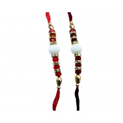 Rakhi By Lilone Multicolor Fabric Set Of 2 Rakhi With Roli Chawal