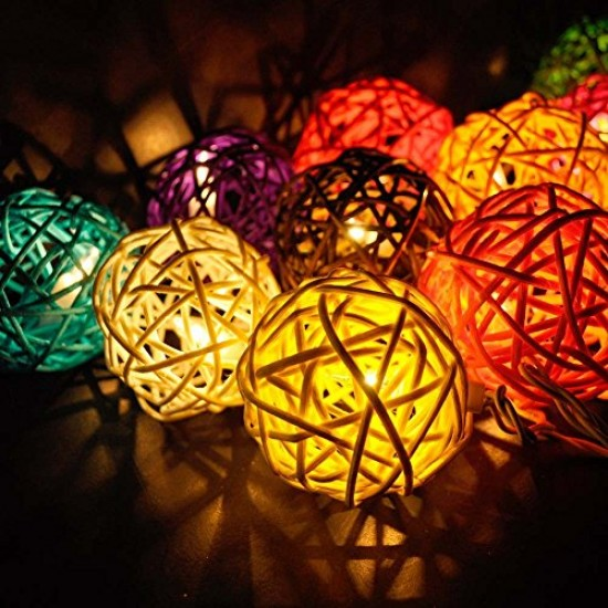 20 Balls Home Decoration Light Thai Mixed Color Rattan Ball String Lights Series (LADI)