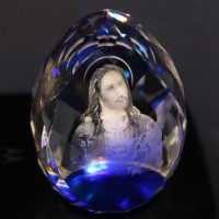 "Lilone Gifts 3D Holy Face of Jesus Crystal Cube Diamond Shape - Size 3"" Inch (Christmas Decoration Gift)"
