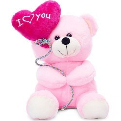 Lilone Pink Teddy Holding I Love You Balloon - 18CM