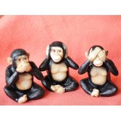 Lilone 3x Wooden Gandhiji's Cute Monkey Statue Showpiece