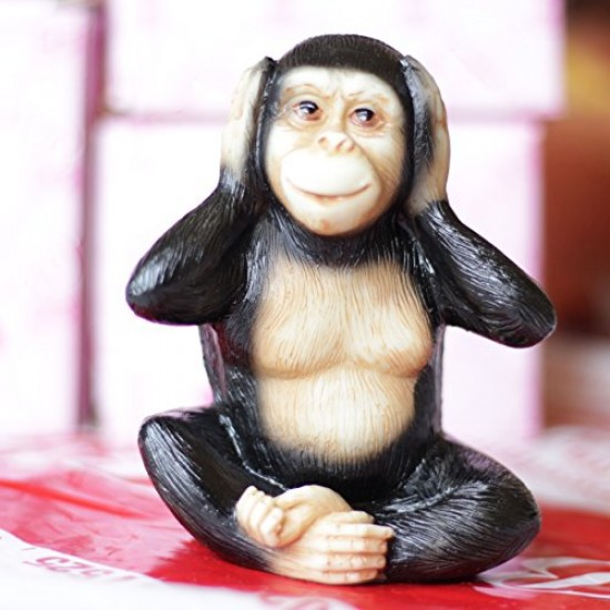 Lilone 3x Wooden Gandhiji's Cute Monkey Statue Showpiece