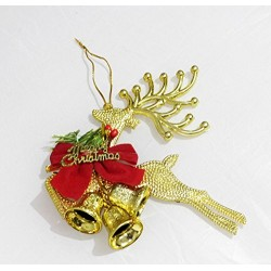 Gold Reindeer - Christmas Tree Hanging Decoration Ornaments (Size 6x6 Inch)
