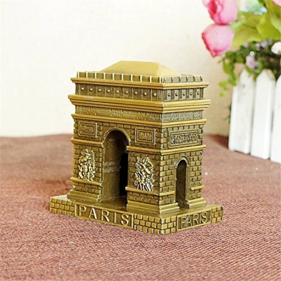 Lilone Antique Arc de Triumphal Paris Metal Statue Table Showpiece