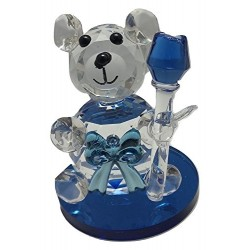 Crystal Cut Clear Teddy Bear I Love You For Boyfriend Girlfriend Valentines Gift (Teddy With Rose)