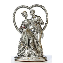 Lilone Romantic Couple Statue with Bouquet in Heart Showpiece Gift