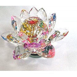 Lilone Multicolour Rotating Crystal Lotus Flower Showpiece Home Decor And Gift