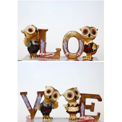 Lilone Valentine Special and Love Owl Alphabet Showpiece Gift