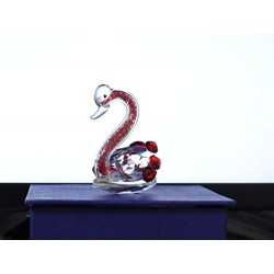Lilone Beautiful Red Crystal Studded Decorative Swan Showpiece