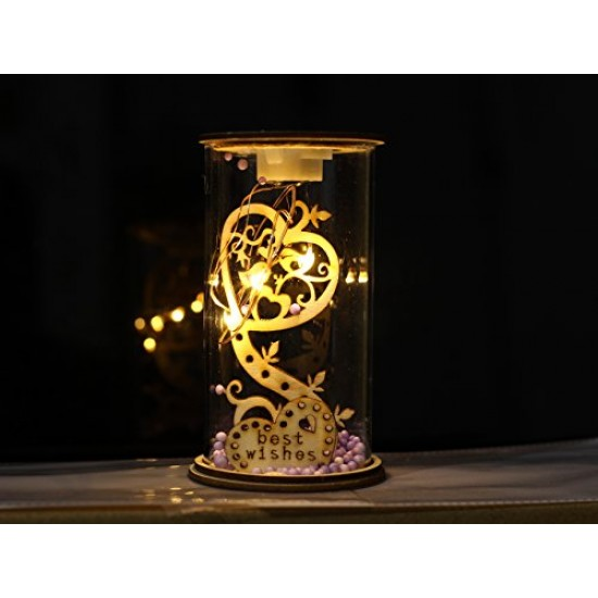 Lilone Gifting Special Wooden Glass Lighting A Best Wishes Decorative Showpiece Statue