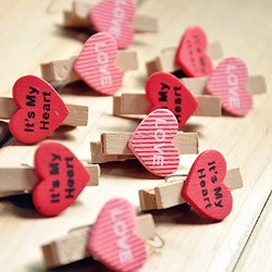 Lilone Wooden Mini Heart Shaped Photo Clips with Rope (Multicolour) - Pack of 10 Pieces