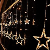 12 Stars 138 LED with 8 Flashing Modes Curtain String Lights Decoration (Warm White)