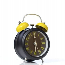 Lilone Black and Yellow Twin Bell Loud Alarm Clock