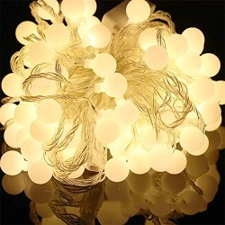 AtneP Milky Ball String Lights 40 LED 6 Meter Long Star Fairy Lights for Ganpati Diwali Christmas Home Decoration, 8 Mode Controller, Warm White