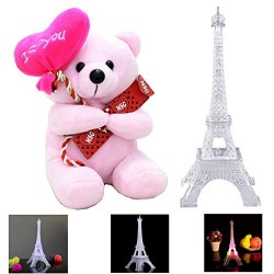 Lilone Cute Pink Teddy Bear with Eiffel Tower with Light