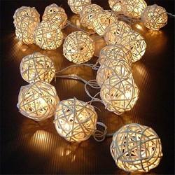 AtneP 2m Bamboo Rattan Ball String Light - (White, Set of 20)