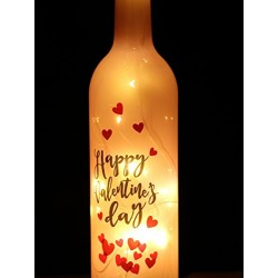Lilone Happy Valentine Day Heart Printed Led Wine Bottle Valentine Gifts