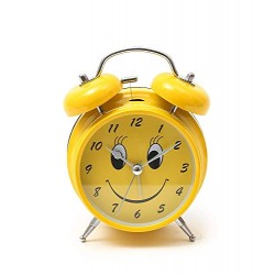 Lilone Yellow Twin Bell Loud Alarm Clock for Heavy Sleepers Smiley Face Emoji Design