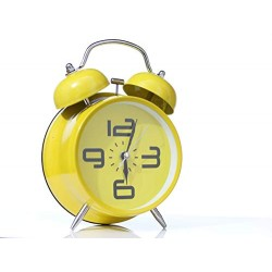 Lilone Metal Table Clock (Yellow_6 X 4 Inch)