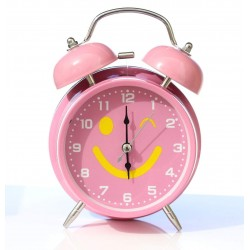Lilone Emoji Design Pink Twin Bell Loud Alarm Clock