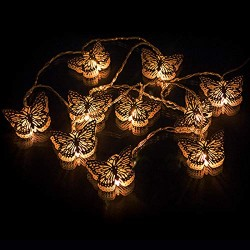AtneP 16LED Metal Butterfly Fairy String Lights (Warm White Color)