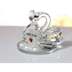 Lilone Beautiful Crystal Couple Swan Showpiece