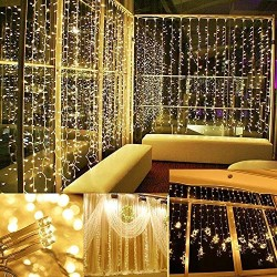 AtneP 224 LED Window Curtain Lights Icicle Lights Fairy String Lights with 8 Modes (Warm White)