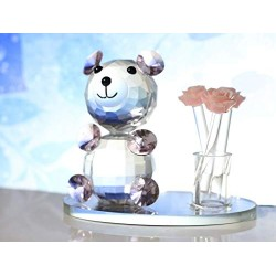 Lilone Beautiful Crystal Teddy Bear with Rose Bouquet