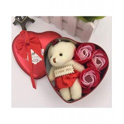 Lilone Decorative Heart Shape Box with Cute Teddy Bear and Soap Roses