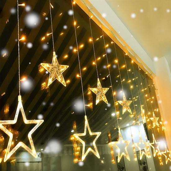 Curtain 12 Stars 138 LED with 8 Flashing Modes String Lights Decoration (Warm White)